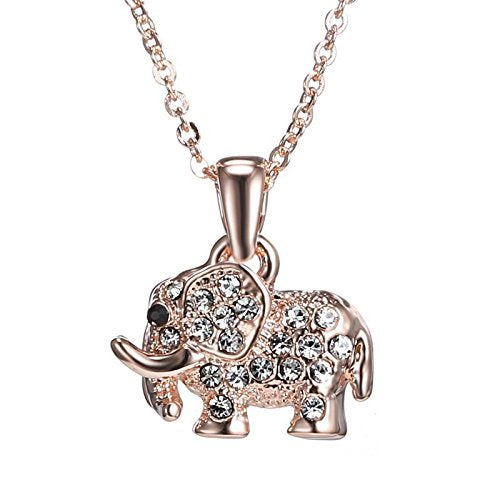Women Rhinestones Elephant Gold Plated Pendant Necklace