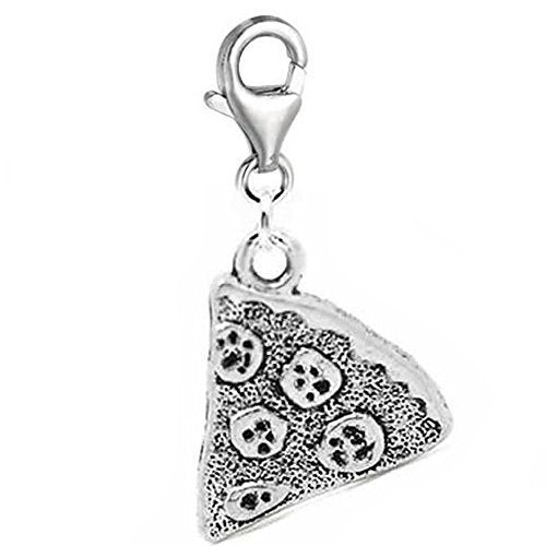 Silver Tone Pizza Slice Clip On Charm Pendant Friendship in Organza Gift Bag