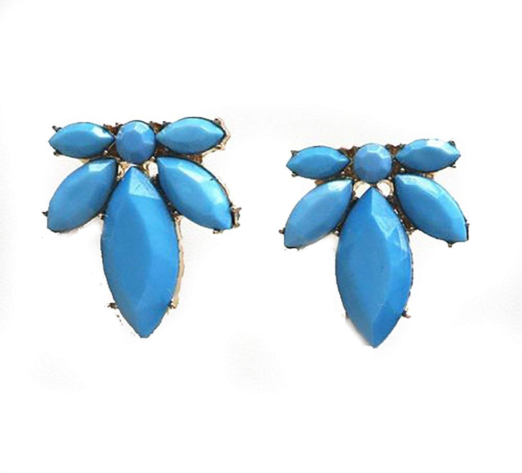 Blue Resin Stud Earrings Leaf Flower in Organza Gift Bag - Pendants and Charms