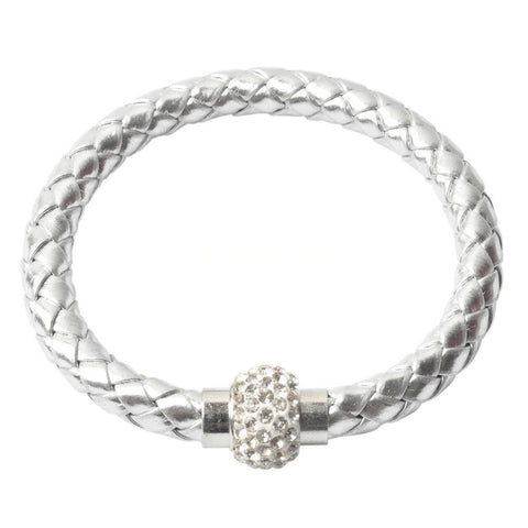 Silver Pu Leather Wrap Wristband Cuff Punk Magnetic Rhinestone Buckle Bracelet Bangle - Pendants and Charms