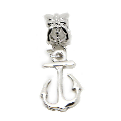 Anchor charms Dangle Bead chain link bracelet (silver clip on) - Pendants and Charms