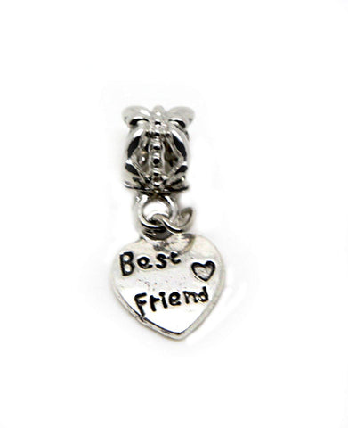 Dangle Best Friend Best Friend Small Heart Beads Charm Fits High Street Brands in Organza Gift Bag (Silver Dangle)