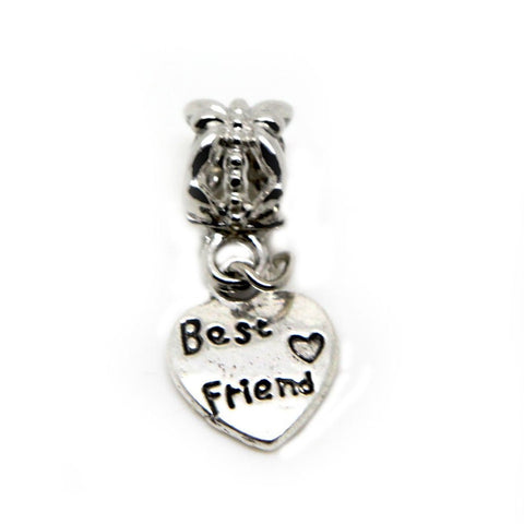 Best Friend Small heart charm Dangle Bead chain link bracelet (silver dangle) - Pendants and Charms