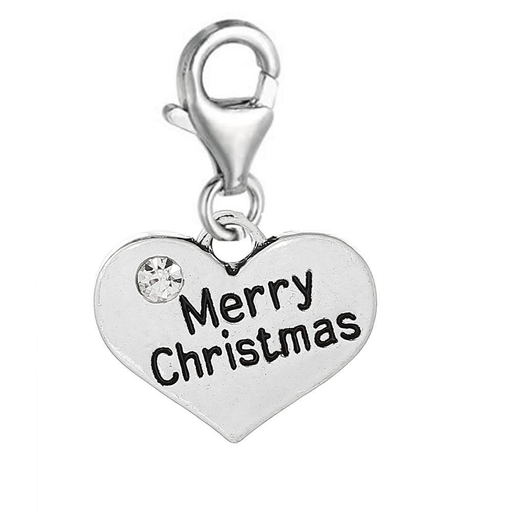 SEXY SPARKLES Women's Merry Christmas Heart Clip On For Charm Jewelry W/ Lobster Clasp