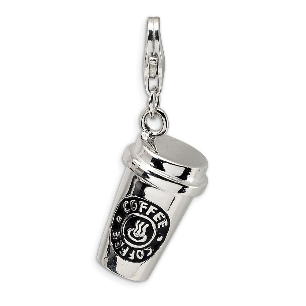 Silver Plated Coffee Cup Charm Pendant Bead Clip on in Organza Gift Bag