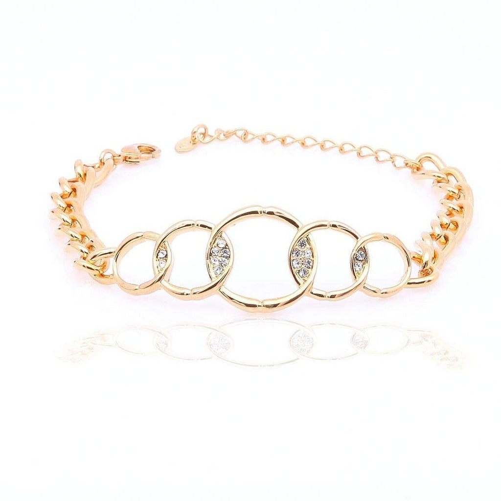 Rhinestone yellow gold plated circles white crystals bangle bracelet bridal bracelet - Pendants and Charms