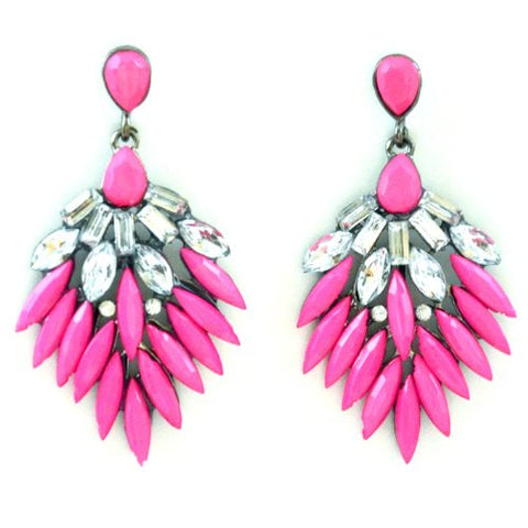 Dangle Earrings Pink White Resin Crystal Flower in Organza Gift Bag - Pendants and Charms