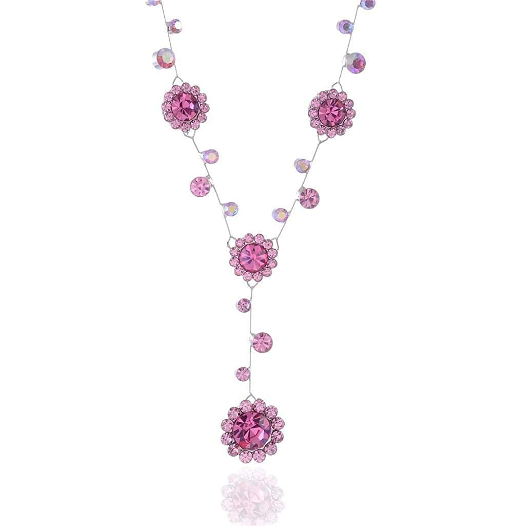 Pink Rhinestone Necklace Flower Drop Bridal Prom Necklace
