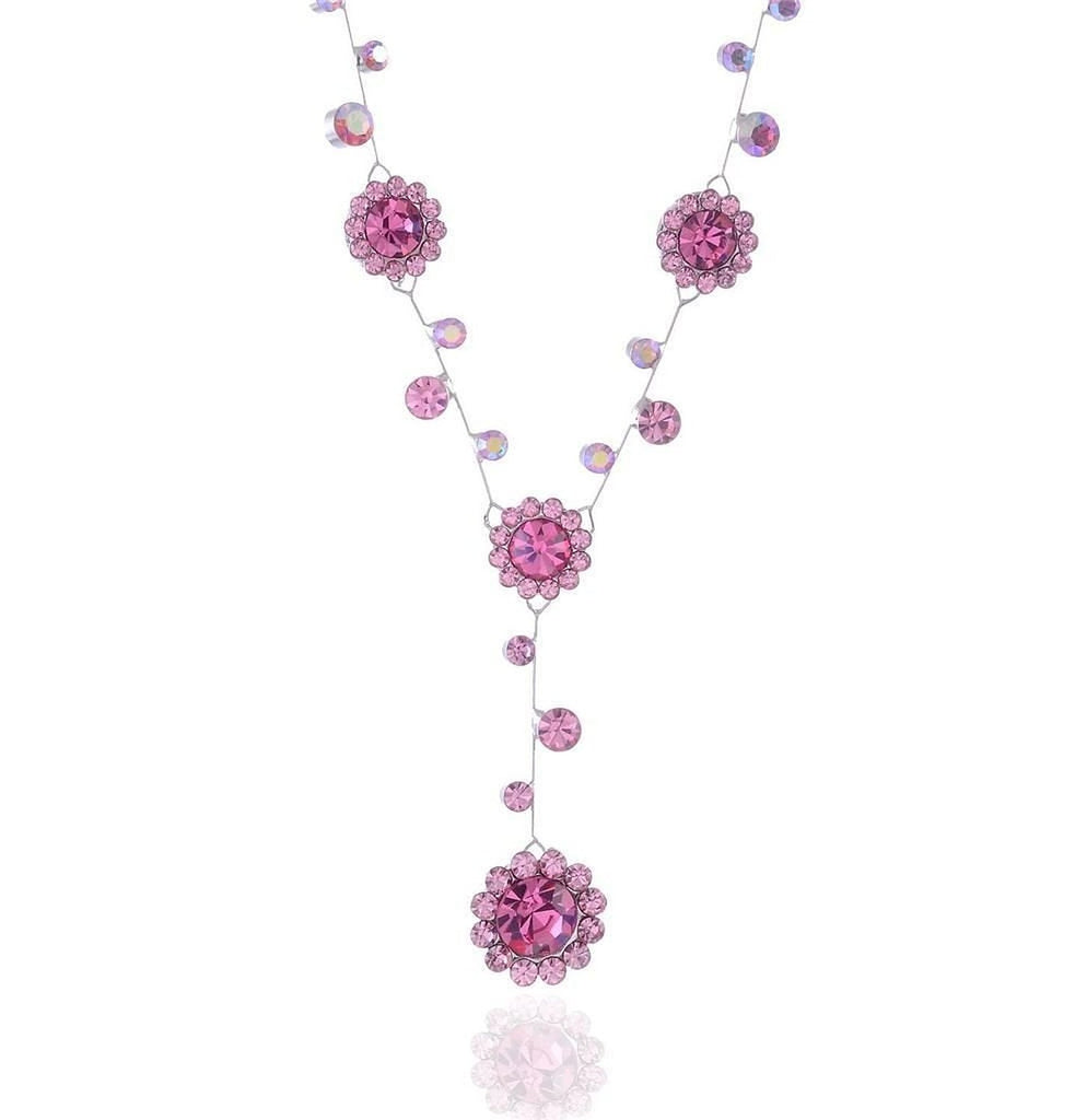 Silver tone and pink rhinestone crystal necklace flower drop bridal necklace - Pendants and Charms