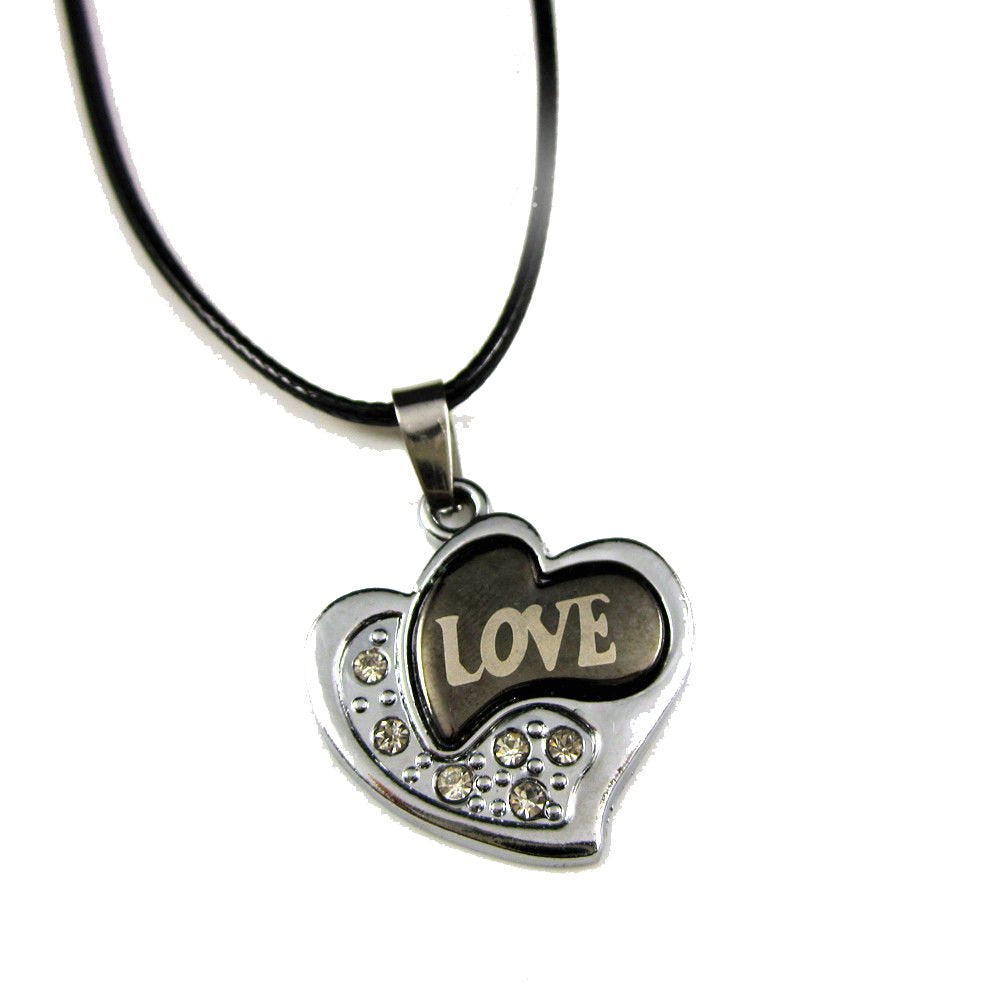 Stainless Steel Love Hearts Crystal Pendant Leather Necklace Punk