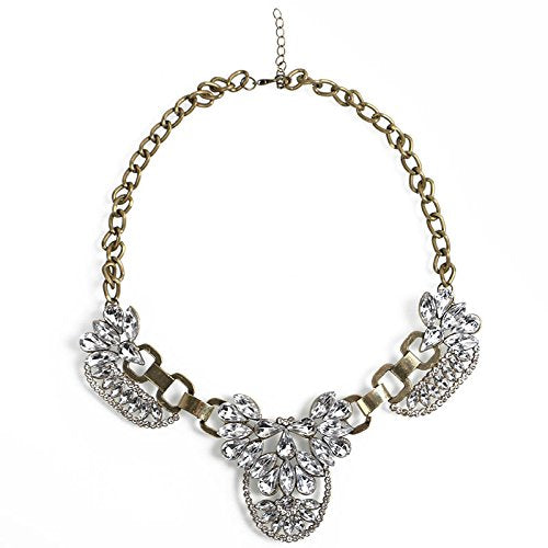 jewelleryjoy Sparkly Clear Crystal Choker Chunky Statement Bib Collar Necklace Pendant Chain