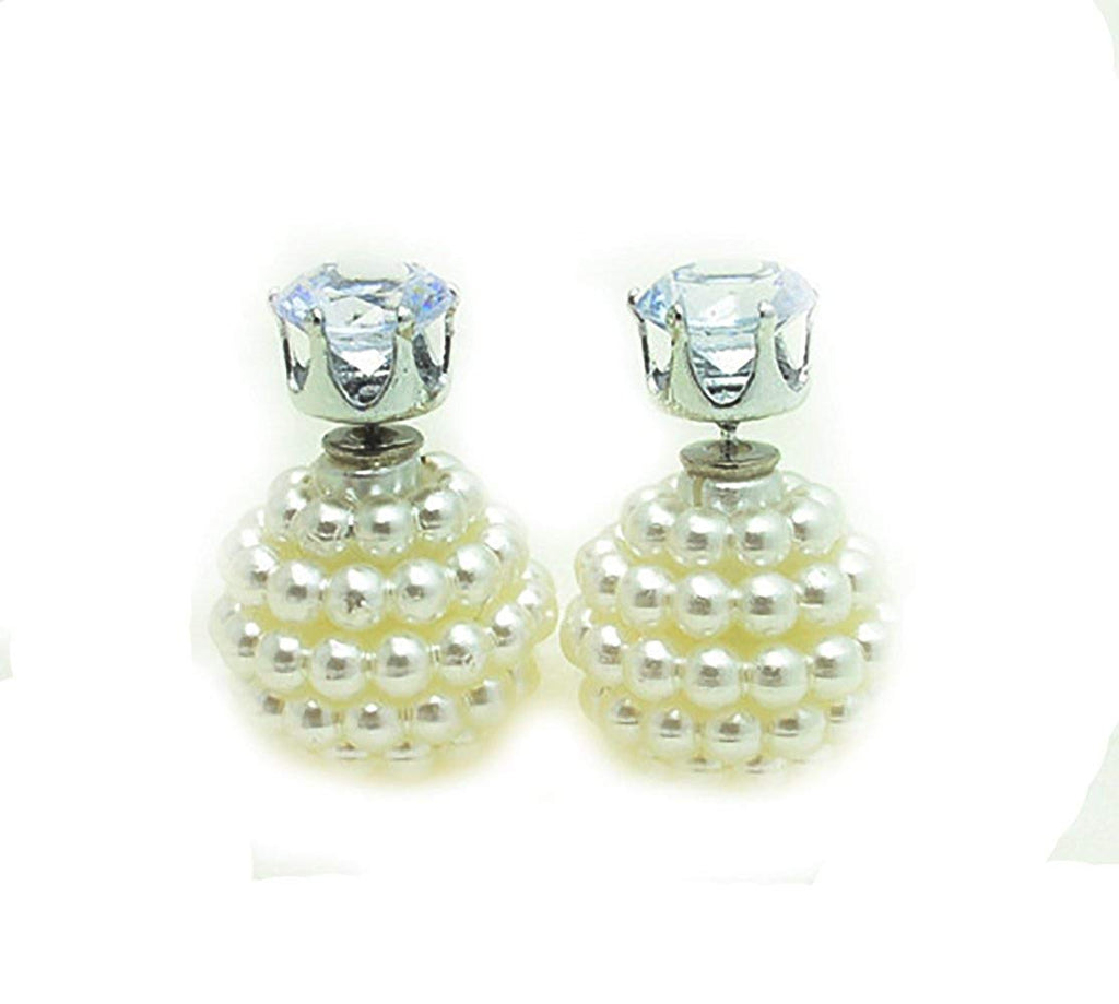 Double Pearl Double Sided Ball Beads Stud Earrings in Organza Gift Bag - Pendants and Charms