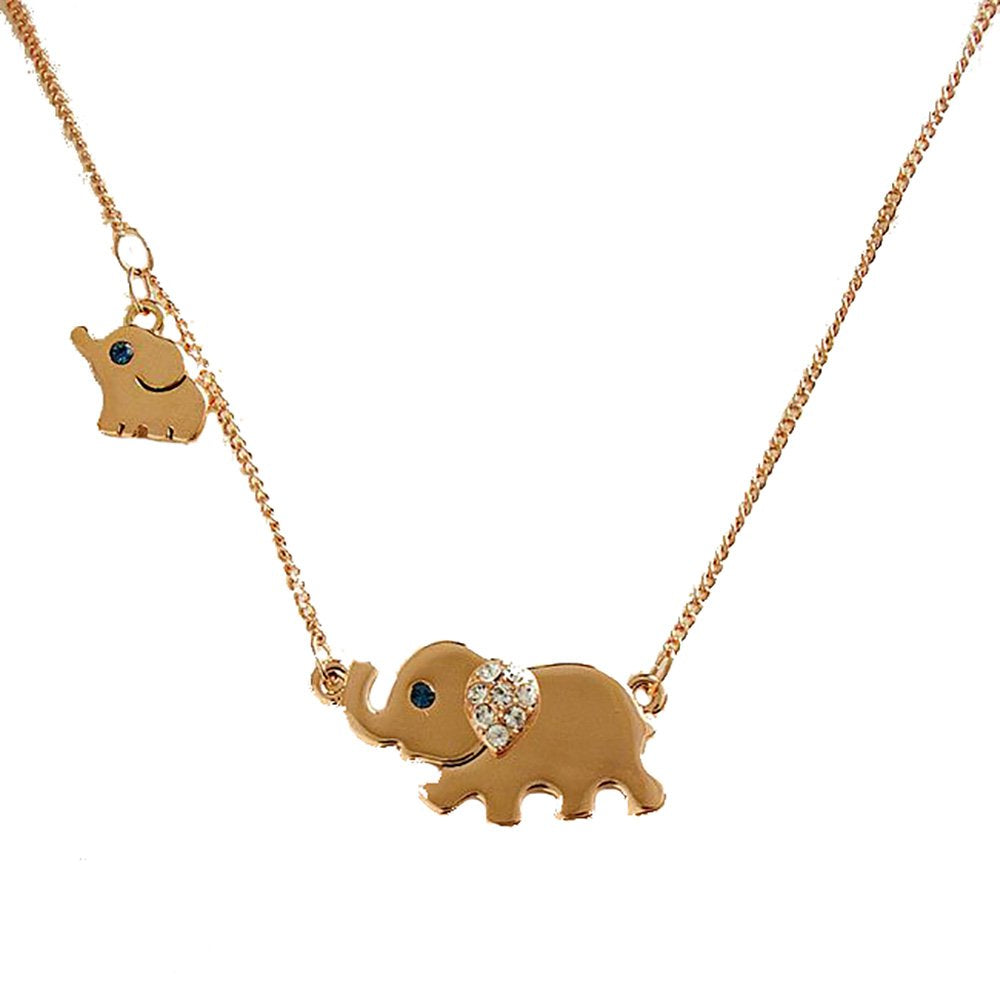 jewelleryjoy Gold Tone Small and Large Elephant Mum Daughter Necklace Delicate Necklace