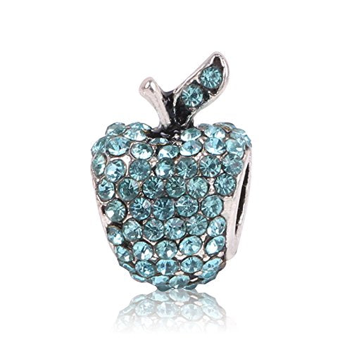 Apple Charms Bead Blue Rhinestones Heart Silver Plated in Organza Gift Bag