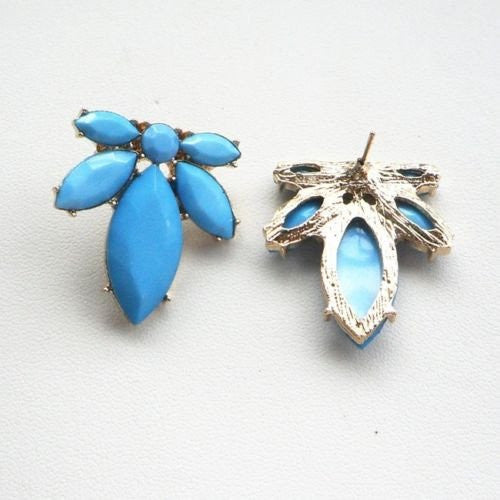 Elegant Charm Blue Resin Leaf Flower Stud Earring - Pendants and Charms