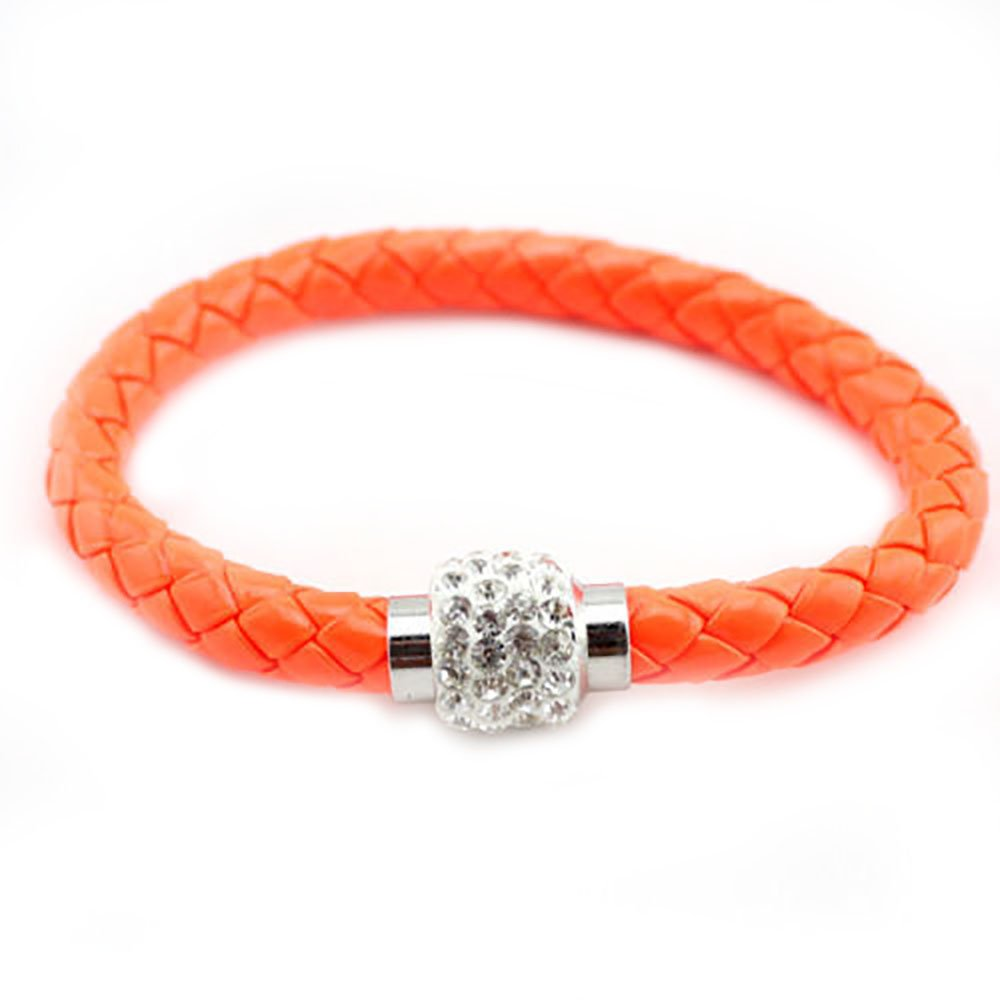 Leather Wrap Magnetic Shamballa Rhinestone Bracelet Bangleneon Orange/White Rhinestone