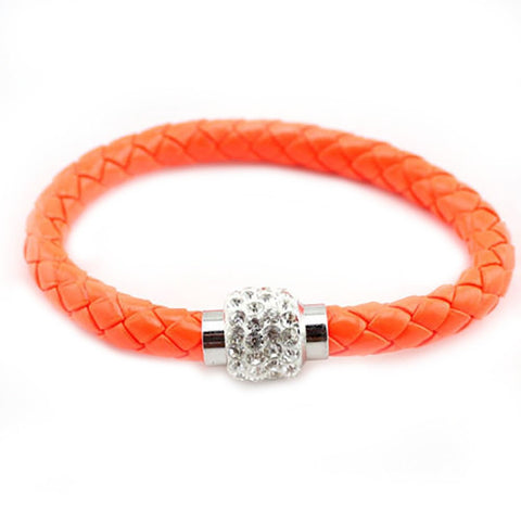 Leather Wrap  Cuff Punk Magnetic Rhinestone Buckle Bracelet Bangle neon orange /white rhinestone - Pendants and Charms
