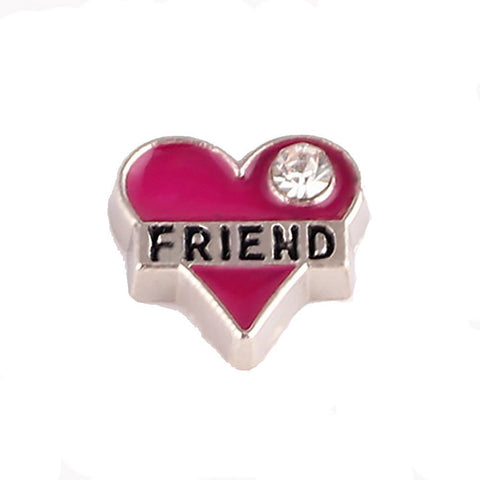 Floating Charms Friend Pink Heart Rhinestone 25 Random birthstones 4.5mm
