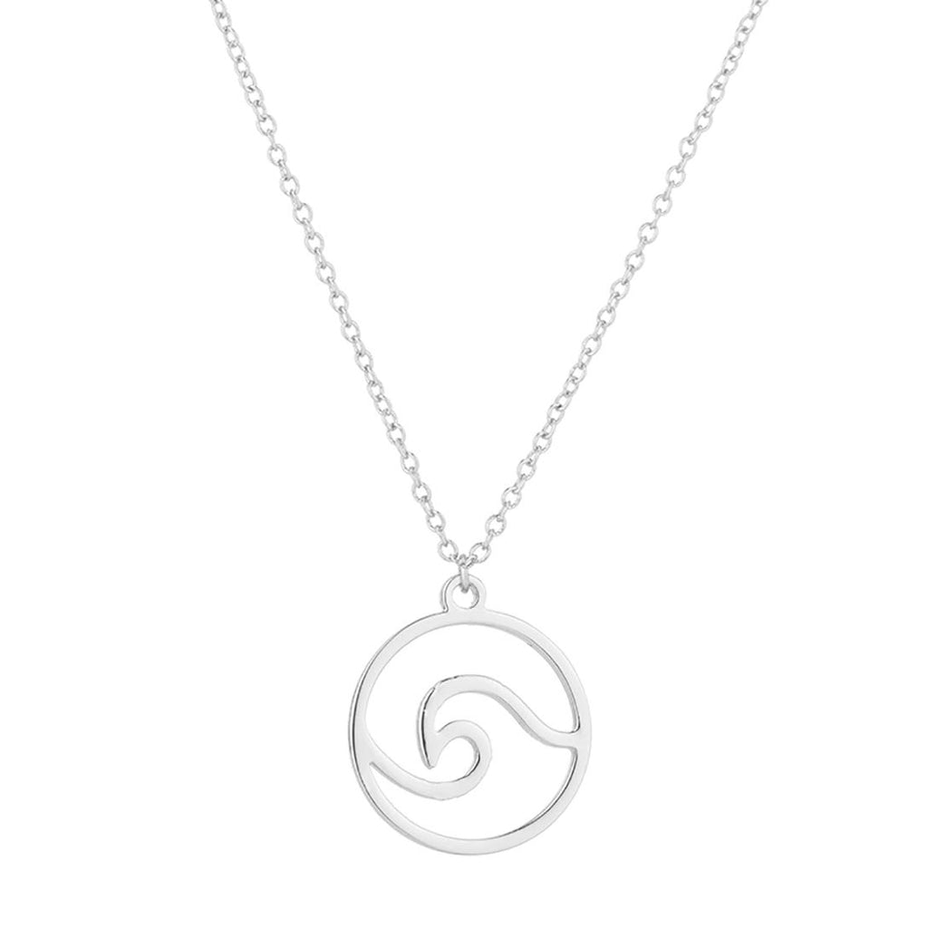 Simple Ocean Wave Necklace Surfing Sea Surfer Hawaii Circle Charm Chain Necklace in an Organza Gift Bag