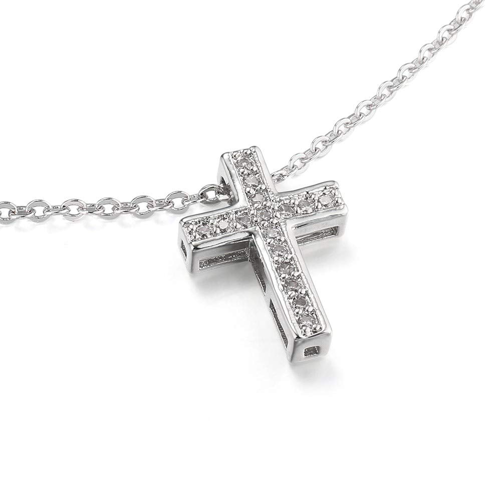 Cross Micro Pave Silver Plated Necklace in an Organza Gift Bag
