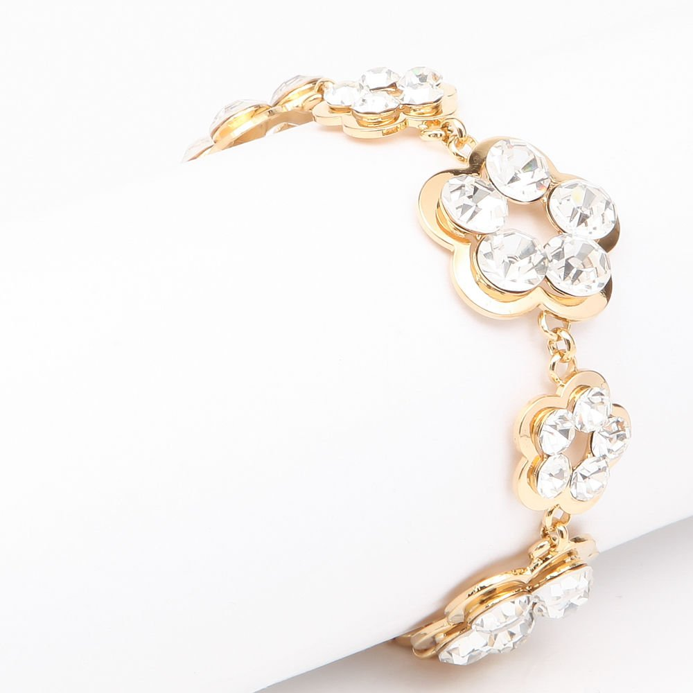 Rhinestone Yellow Gold Plated Crystal Flower Bangle Bracelet Bridal Bracelet