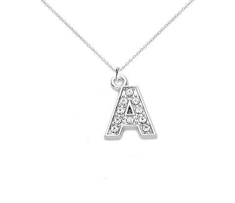 Alphabet Letter Initial Crystal Pendant Necklace Short Chain A-Z