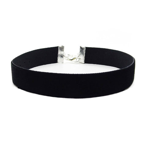 Black Velvet choker necklace plain or with charms pendant Classic Choker Necklace 15mm - Pendants and Charms
