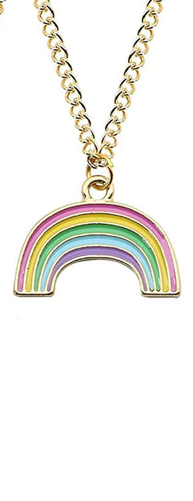 Rainbow Enamel Gold Pendant Charm Chain Necklace in an Organza Gift Bag