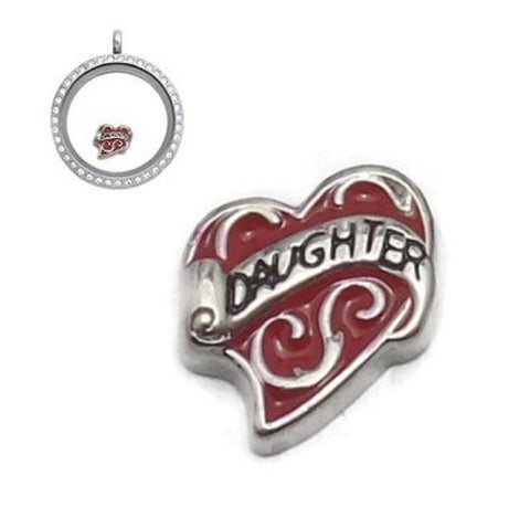 Pink Red Silver tone Daughter heart Floating charms  8mm (Red) - Pendants and Charms