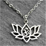 Lotus Om Symbol Spiritual Round Pendant Charm Chain Necklace in an Organza Gift Bag (Swimm)