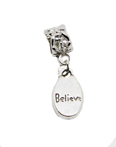 Believe Meme Quotes Words Tibetan Silver Charm for Charm Bracelets Womens Girls Jewellery Big Hole Charm European Charms - Pendants and Charms