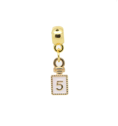 jewelleryjoy Number Five Bottle Charms Pendant White Enamel Gold Tone Dangle Bead for European Charm Bracelets Clip On Charm Chain Link Bracelet Memory Locket