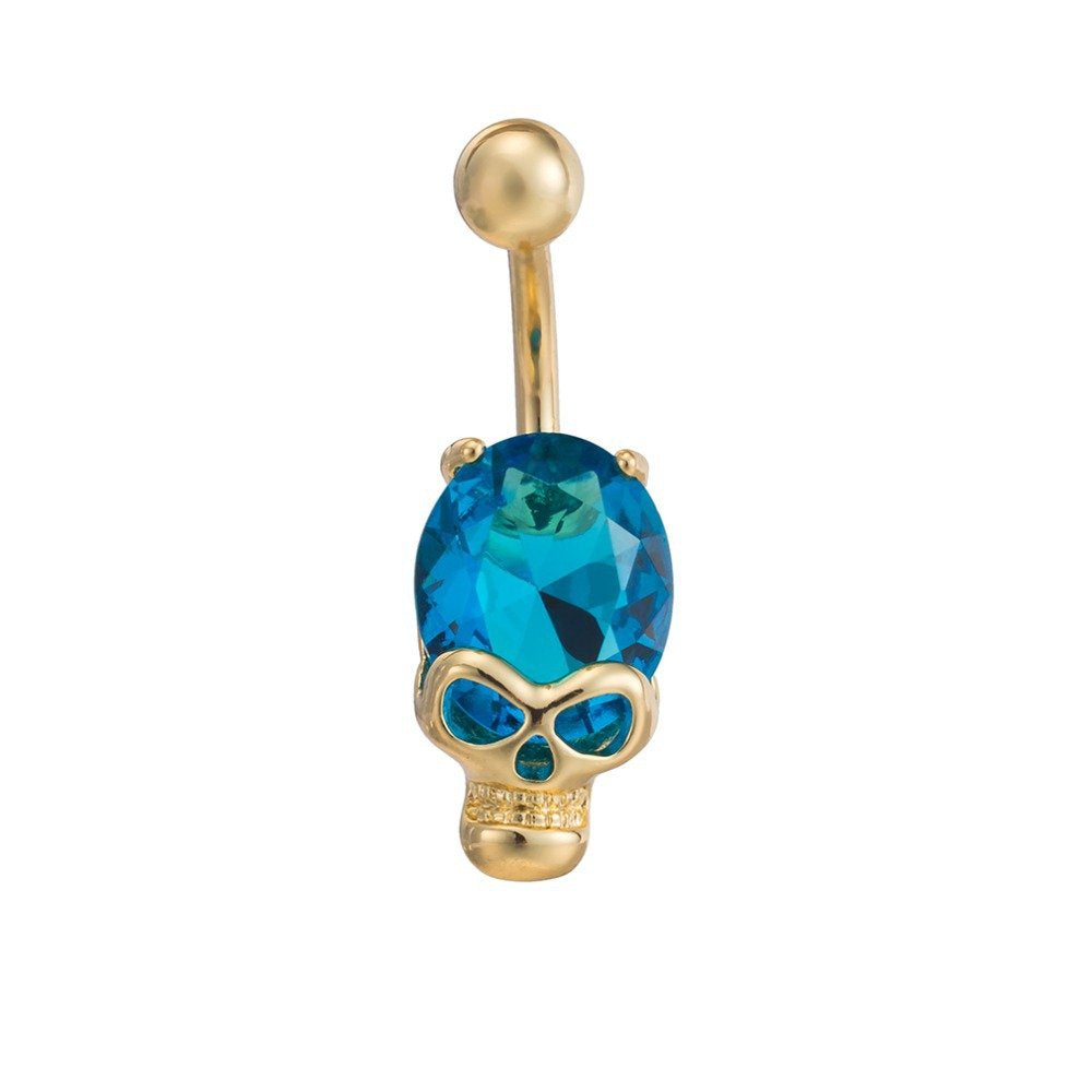 Navel Blue Gold Skull Belly Button Crystal Cubic Zircon in Organza Gift Bag