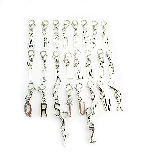 Clip On A-Z Alphabet Initial Letters Charms Pendant for Bracelet Necklace in Organza Gift Bag