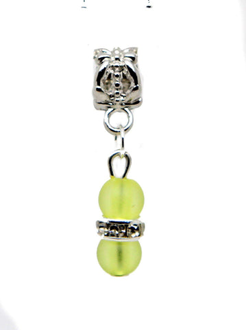 jewelleryjoy Neon Green Frosted Beads Sparkly Rhinestone Spacer Silver Tone Dangle Bead for European Charm Bracelets Dangle Charm Chain