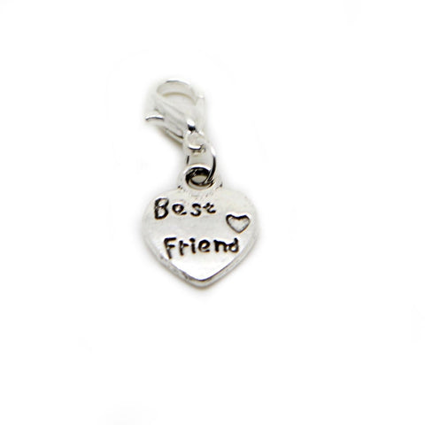 Best Friend Small heart charm Dangle Bead chain link bracelet - Pendants and Charms