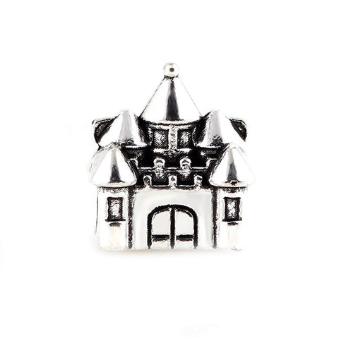 Home Castle Charm Beads Tibetan Antique Silver Tone in Organza Bag Big Hole European Charms