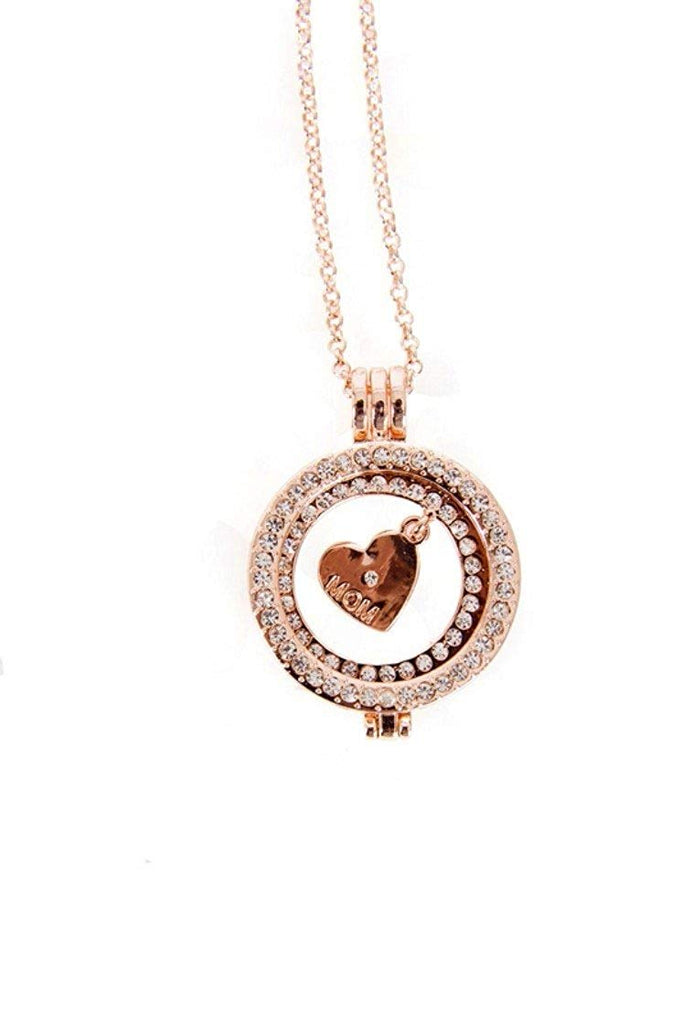 Interchangeable Medalion Necklace Rhinestone Mum Heart Charm Pendant with Pouch