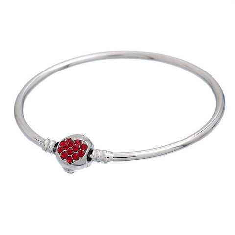 European Charm Bangle Bracelet Clasp Red Rhinestone Heart Fit Charm Beads silver tone - Pendants and Charms