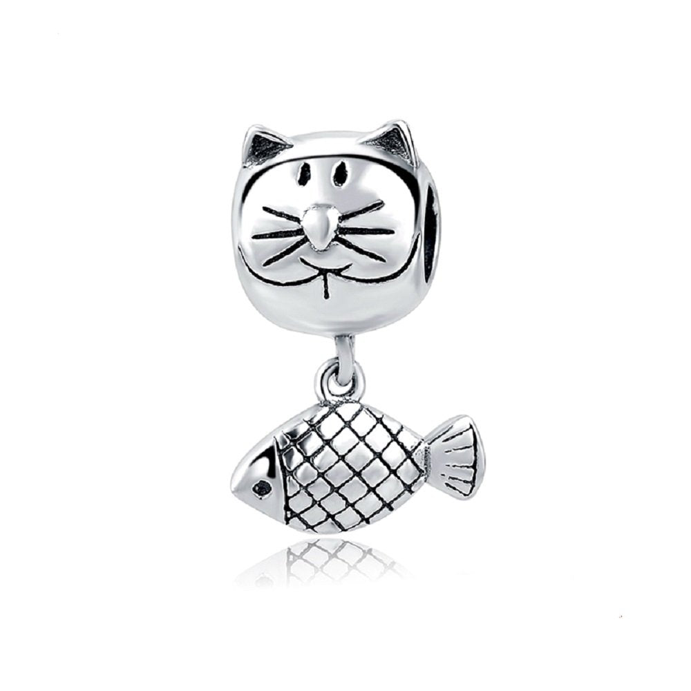 Dangle Beads Cat Fish Kitten Tibetan Silver Charm in Organza Gift Bag