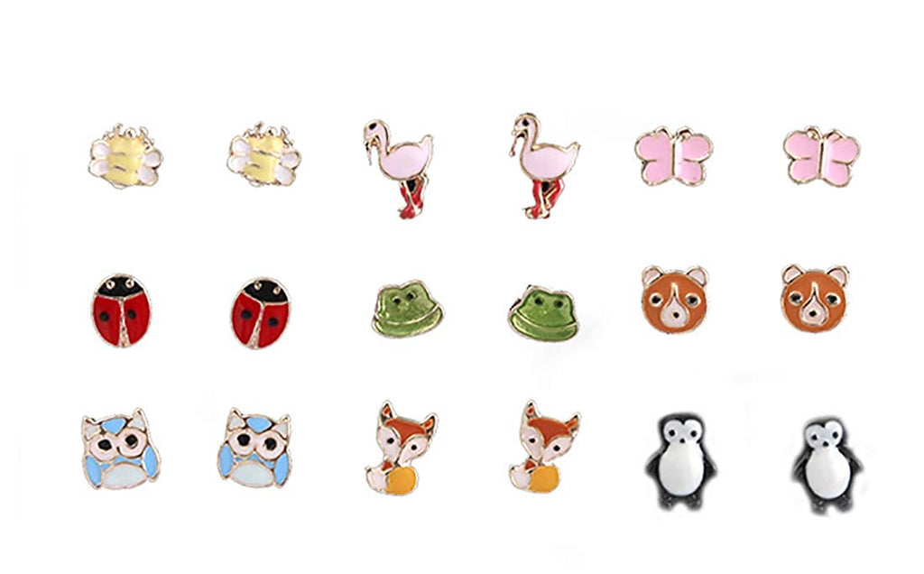 9 Pairs Set Stud Earrings Penguin Bear Owl Unicorn Studs - Pendants and Charms