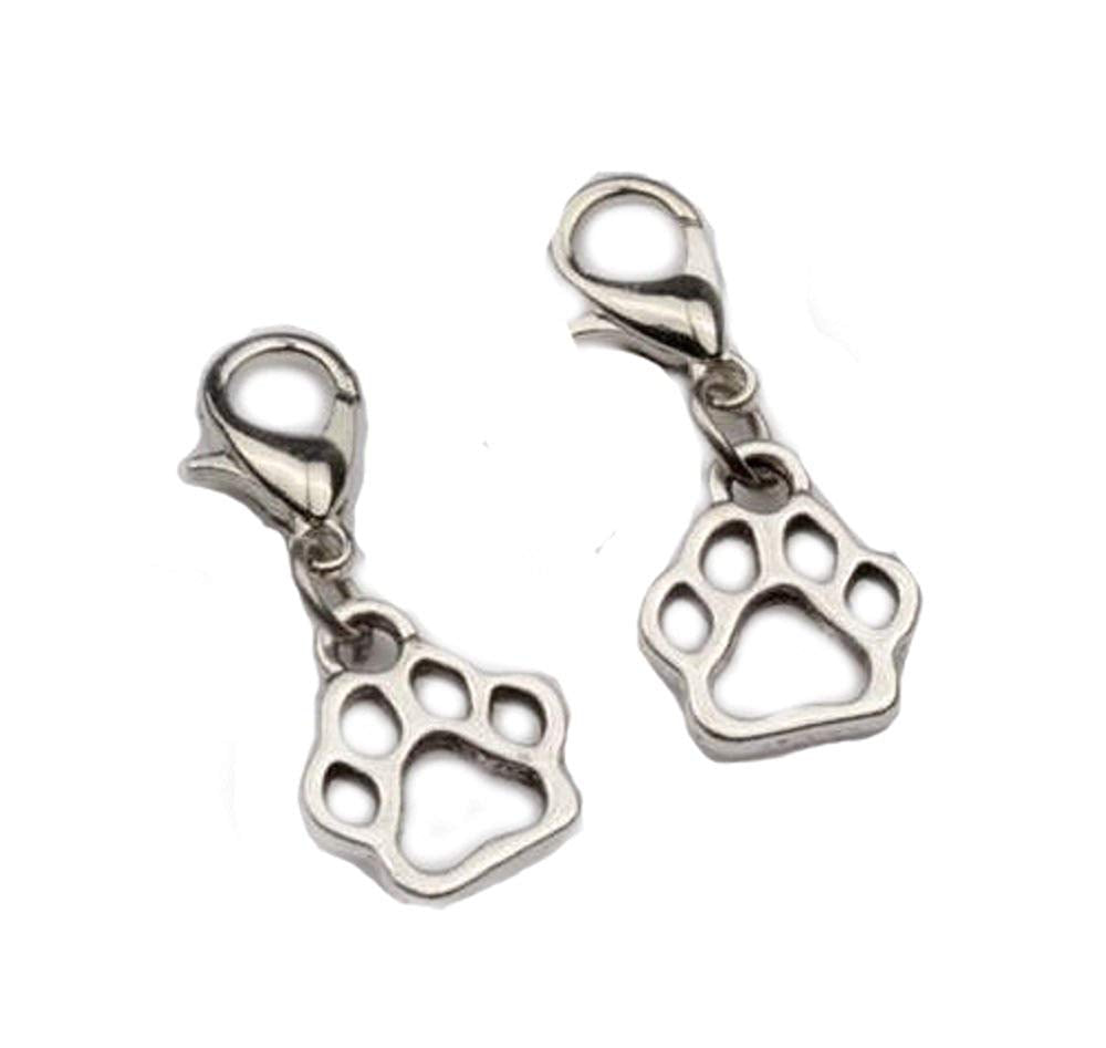 jewelleryjoy Hollow Paw Silver Plated Clip On Charms Pendant in Organza Gift Bag