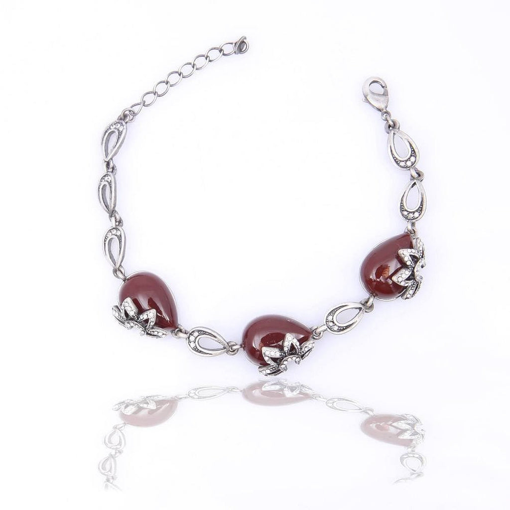 Vintage Collection PEWTER PLATED RUBY STONE BRACELET - Pendants and Charms