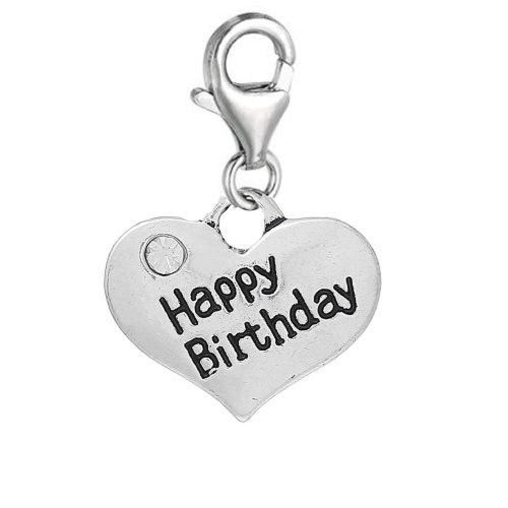 Clip On Happy Birthday Rhinestone Heart Charms Pendant Floating Necklace Bracelet fits Thomas Sabo