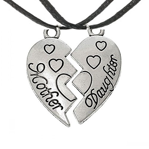 Mum Mother Daughter Family Best Friend Broken Love Heart Pendant Chain Necklace Jewellery Silver Tone Friendship Necklace for 2