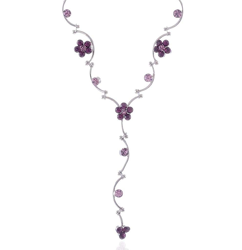 Delicate silver tone purple flower necklace earring set bridal jewellery set - Pendants and Charms