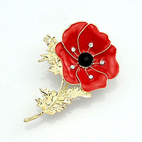 Floral Collection  plain Red Poppy Flower Brooch Pin - Pendants and Charms