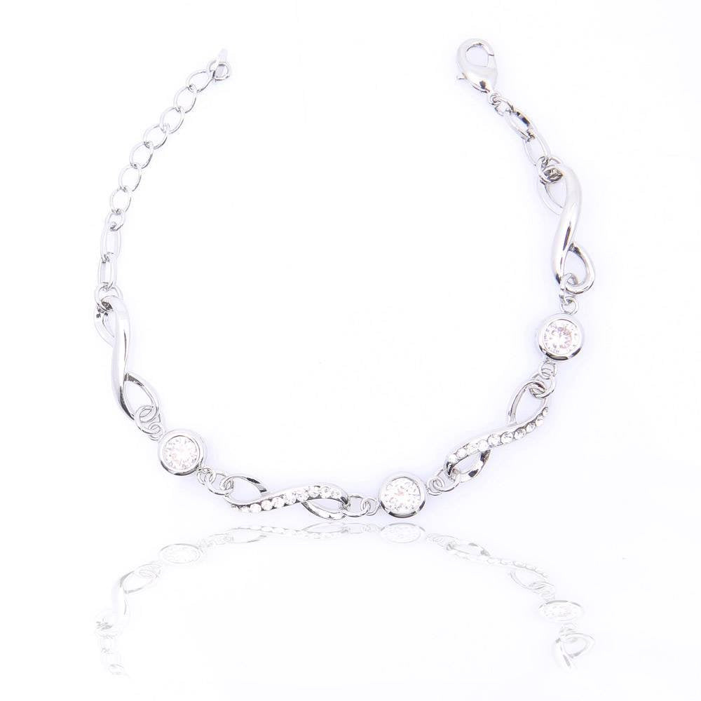 jewelleryjoy Sparkling Silver Plated Clear Crystal Bracelet
