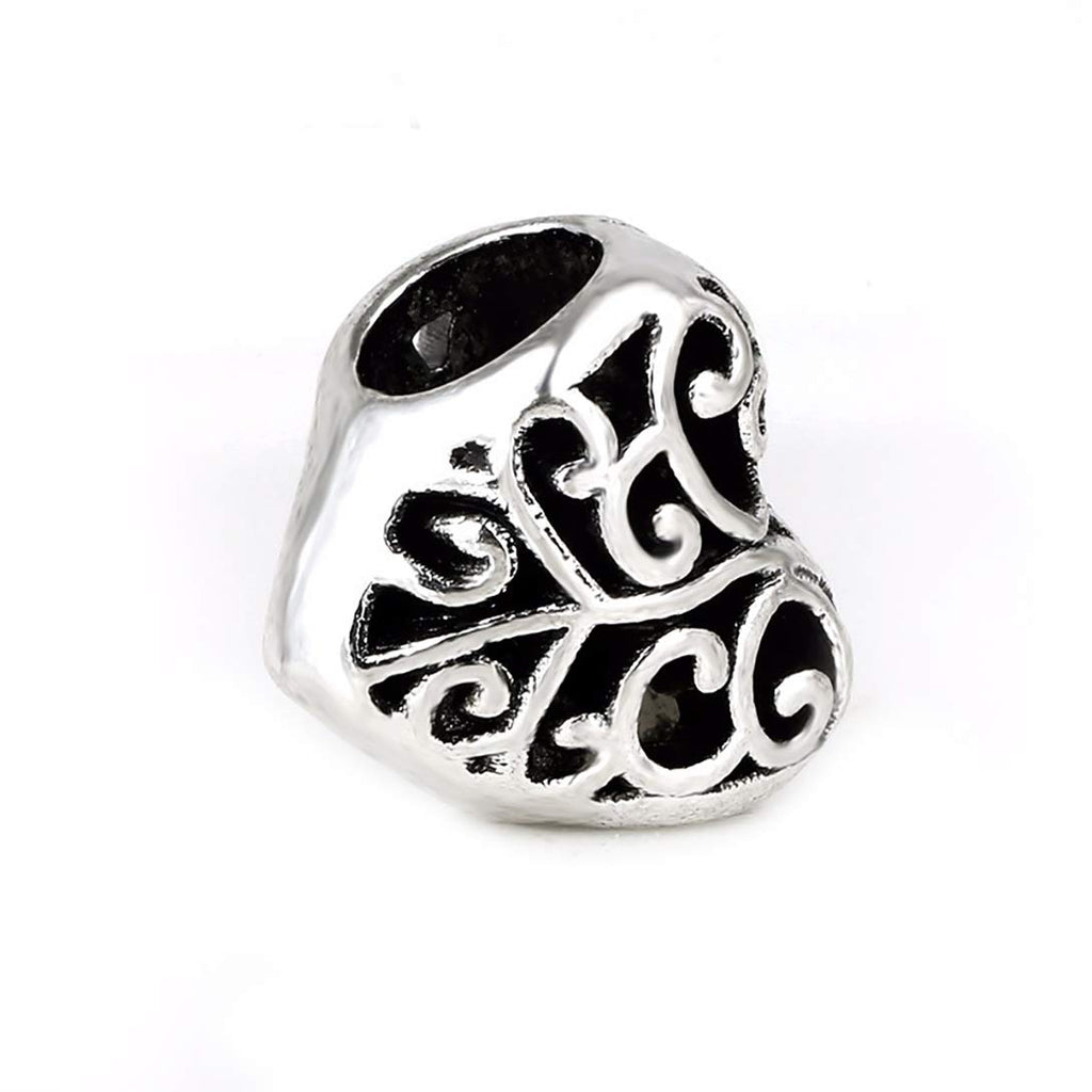 Filigree Heart Charm Beads Tibetan Antique Silver Tone in Organza Bag Big Hole European Charms
