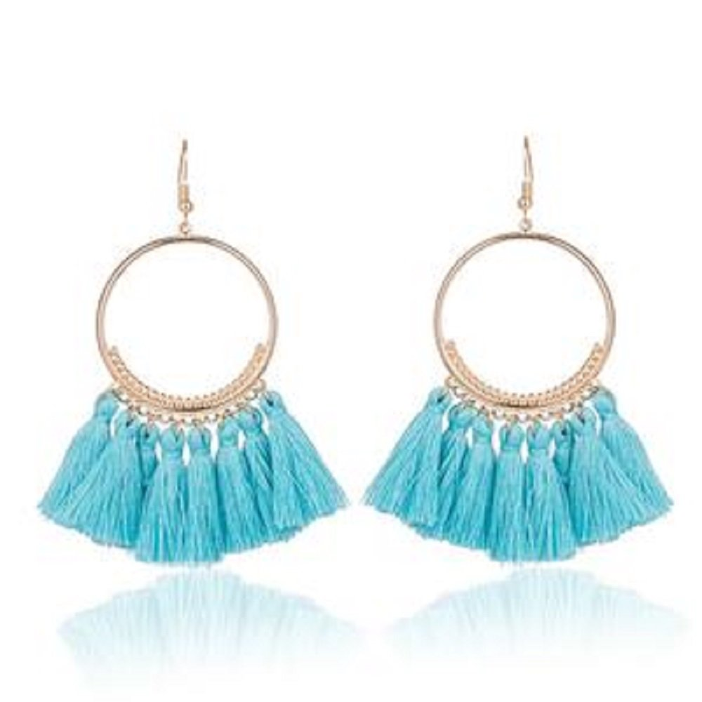 Blue Long Tassel Earrings Gold Metal Cap and Hook (blue) - Pendants and Charms